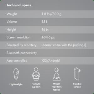 detalhes técnicos da mochila escolar